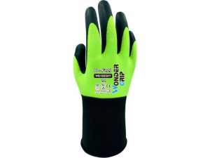 WONDERGRIP U-FEEL HI-VIS YELLOW NITRILE PALM COAT GLOVES SZ 8 (M)
